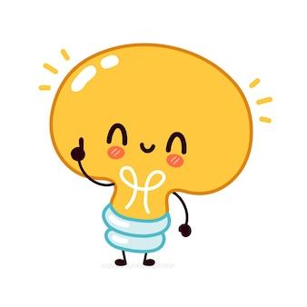 Nette lustige glühbirnenkarikatur kawaii charakterillustration