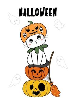 Nette lustige katze mit hexenspinne glücklicher halloween-kostümkarikatur-gekritzelentwurf flacher vektor