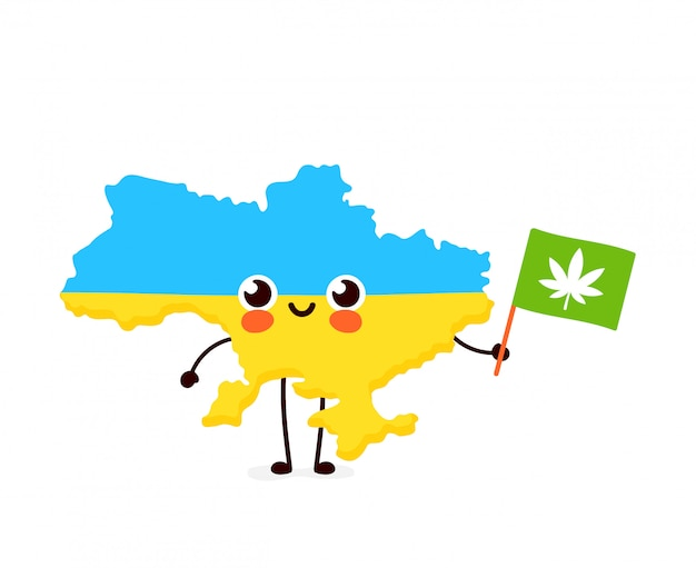 Nette lustige lächelnde glückliche kawaii ukraine karte und flaggencharakter mit cannabis-marihuana-flagge. cartoon charakter illustration symbol. ukraine marihuana unkraut, medizin, freizeit cannabis konzept