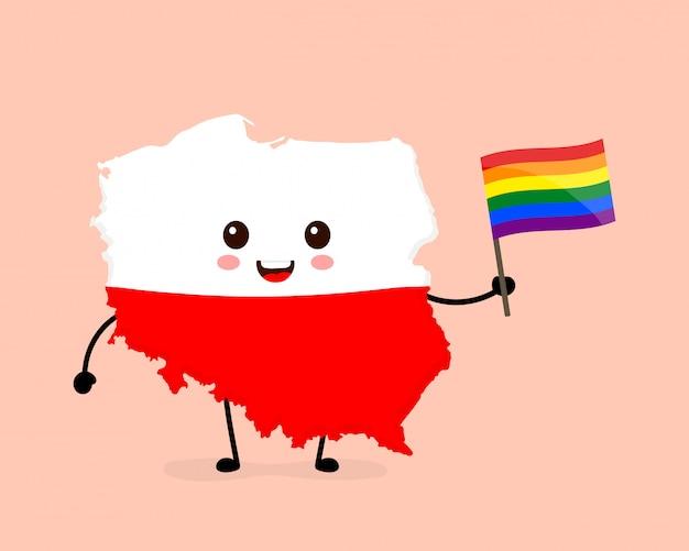 Nette lustige lächelnde glückliche polen-karte und flaggencharakter mit regenbogen-lgbt-schwulenflagge