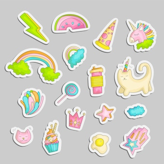 Nette lustige mädchenjugendaufkleber eingestellt, arbeiten nette jugendlich ikonen um