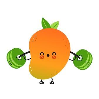 Nette lustige mangofrucht machen fitnessstudio mit langhantel. vektor handgezeichnete cartoon kawaii charakter abbildung symbol. isoliert auf weißem hintergrund. mango exotisches babyfrucht-charakterkonzept