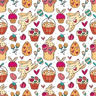 Nette lustige osterkaninchen, osterkuchen, muffins, kräuter, eier und herzen niedliches gekritzel handgezeichnetes nahtloses muster