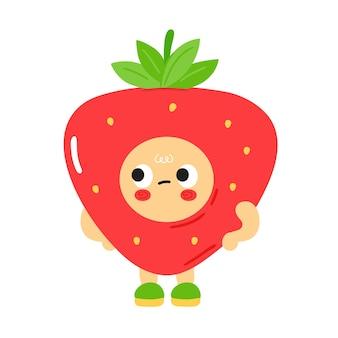 Nette lustige traurige gelangweilte erdbeere mit babygesicht. vektor-cartoon kawaii charakter abbildung kinder emoji-symbol. isoliert auf weißem hintergrund. erdbeerkinderplakat, kartenzeichentrickfilm-figurenkonzept