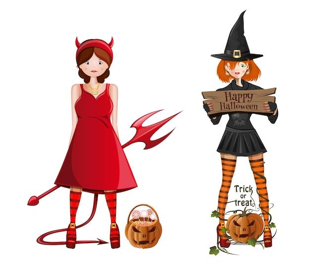 Nette mädchen im kostüm für halloween. ein mädchen in einem hexenkostüm und ein mädchen in einem dämonenkostüm