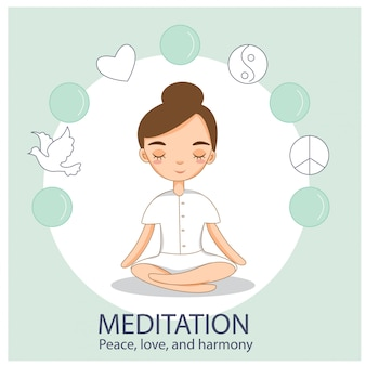 Nette mädchen üben meditation und yoga in friedensposition