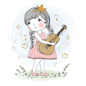 Nette mädchenillustration, die gitarre spielt