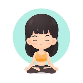 Nette mädchenkarikatur in der meditationshaltung