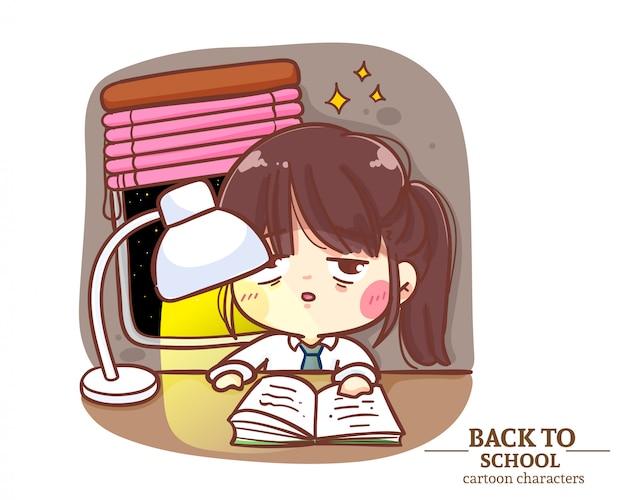 Nette mädchenkinder studentenuniformen lesebuch mit einer lampe zurück zur schule. karikaturillustration premium-vektor