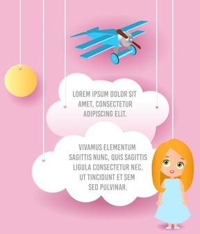 Nette mädchenzeichentrickfilm-figur. vector papierkunst des wolken- und flugzeugfliegens im himmel. template-werbung.