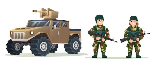 Nette männliche und weibliche armeesoldaten, die waffengewehre mit militärfahrzeugkarikaturillustration halten