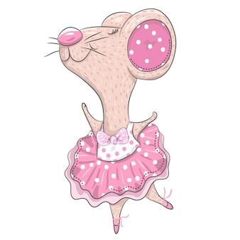 Nette mäuseballerinakarikaturhand gezeichnet