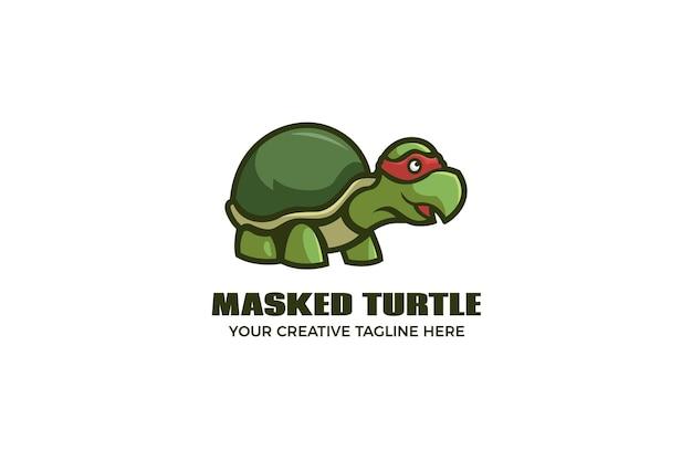 Nette maskierte schildkröten-karikatur-maskottchen-logo-vorlage
