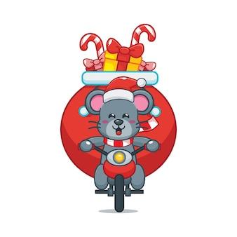 Nette maus am weihnachtstag, die ein motorrad fährt nette weihnachtskarikaturillustration