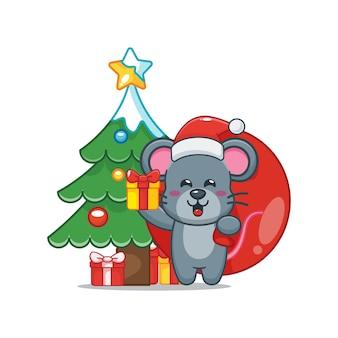 Nette maus am weihnachtstag, die geschenk trägt nette weihnachtskarikaturillustration