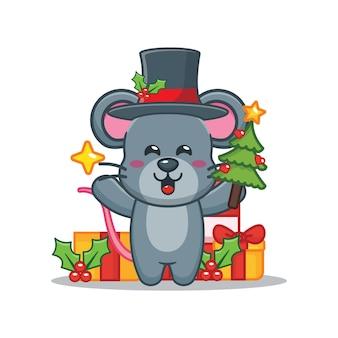 Nette maus am weihnachtstag, die weihnachtsbaum und stern hält nette weihnachtskarikaturillustration