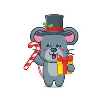 Nette maus am weihnachtstag, die weihnachtsgeschenk und -süßigkeit hält nette weihnachtskarikaturillustration