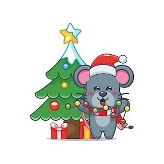 Nette maus am weihnachtstag, die weihnachtslampe hält nette weihnachtskarikaturillustration