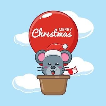 Nette maus am weihnachtstag fliegen mit luftballon nette weihnachtskarikaturillustration