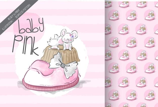 Nette maus auf babyschuhillustration mit nahtlosem muster