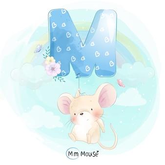 Nette maus, die mit alphabet-m-ballon fliegt