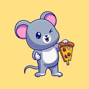 Nette maus, die pizza-karikatur-vektor-symbol-illustration hält. tiernahrung symbol konzept isoliert premium-vektor. flacher cartoon-stil