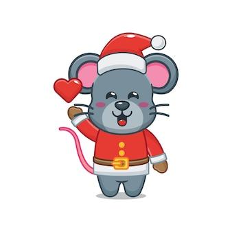 Nette maus, die sankt-kostüm am weihnachtstag trägt nette weihnachtskarikaturillustration
