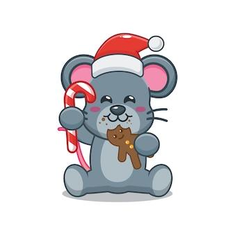 Nette maus, die weihnachtsmütze trägt und weihnachtsplätzchen isst nette weihnachtskarikaturillustration