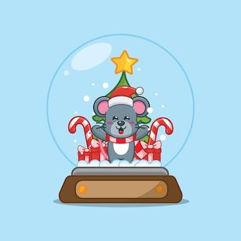 Nette maus in der schneekugel nette weihnachtskarikaturillustration