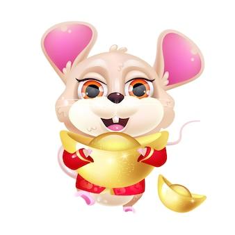 Nette maus kawaii zeichentrickfigur. entzückendes und lustiges chinesisches tierkreis-tier mit goldbarren lokalisiertem aufkleber, aufnäher. orientalisches mondneujahr. anime baby ratte emoji auf weißem hintergrund
