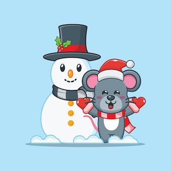Nette maus mit schneemann am weihnachtstag nette weihnachtskarikaturillustration