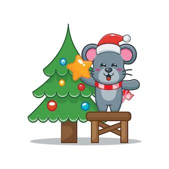 Nette maus mit weihnachtsbaum am weihnachtstag nette weihnachtskarikaturillustration