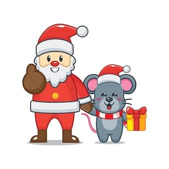 Nette maus mit weihnachtsmann am weihnachtstag nette weihnachtskarikaturillustration