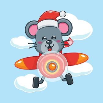Nette maus mit weihnachtsmütze fliegen mit flugzeug am weihnachtstag nette weihnachtskarikaturillustration