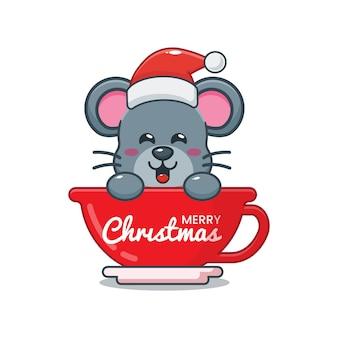 Nette maus mit weihnachtsmütze in der tasse nette weihnachtskarikaturillustration