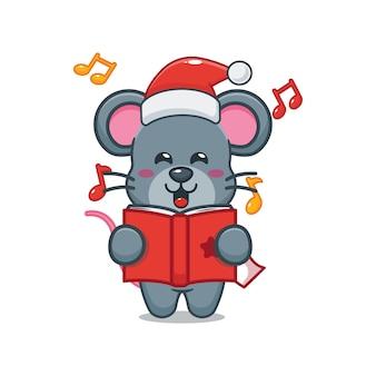 Nette maus singt ein weihnachtslied nette weihnachtskarikaturillustration