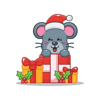 Nette maus und weihnachtsgeschenkbox nette weihnachtskarikaturillustration