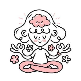 Nette meditierende frau mit glücklichem gehirn im inneren