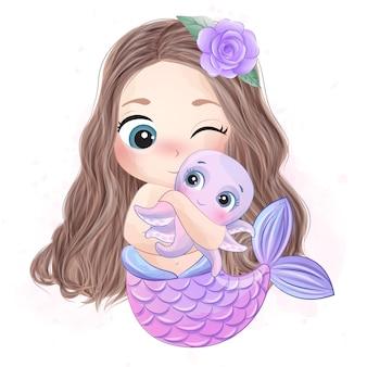 Nette meerjungfrau, die einen kleinen oktopus umarmt