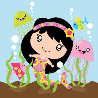 Nette meerjungfrau, gelee fisch und fische im meer vektor cartoon, kinder kinderzimmer wand, tapete und grußkarte, t-shirt design für kinder