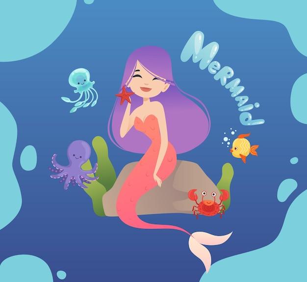 Nette meerjungfrau. glückliche seeprinzessin, die auf stein, plakat sitzt. quallen-, tintenfisch- und fischvektorillustration