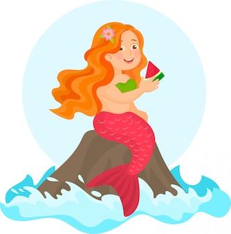 Nette meerjungfrau mit wassermelone