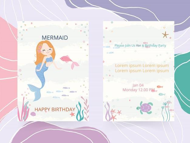 Nette meerjungfrau thema geburtstagsfeier einladungskarte vektor-illustration.