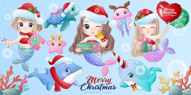 Nette meerjungfrau und freunde für frohe weihnachten mit aquarellillustrationssatz