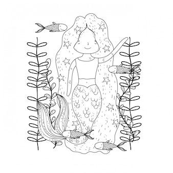 Nette meerjungfrau unter meer mit meerespflanze