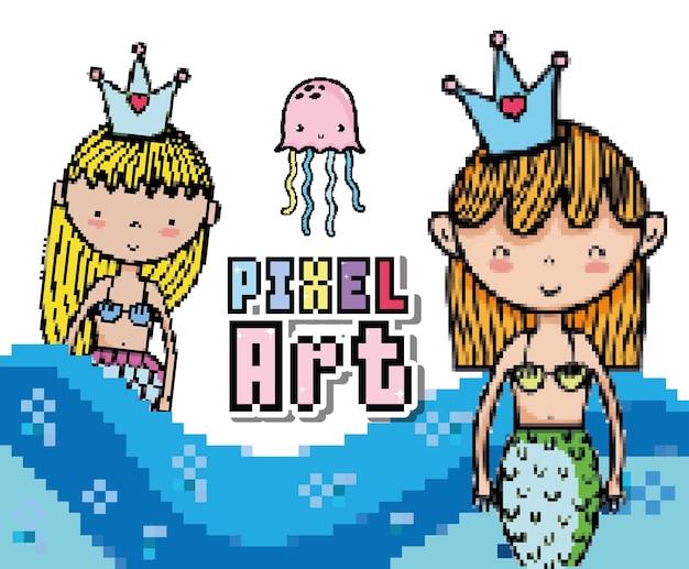 Nette meerjungfrauen cartoons der pixelkunst