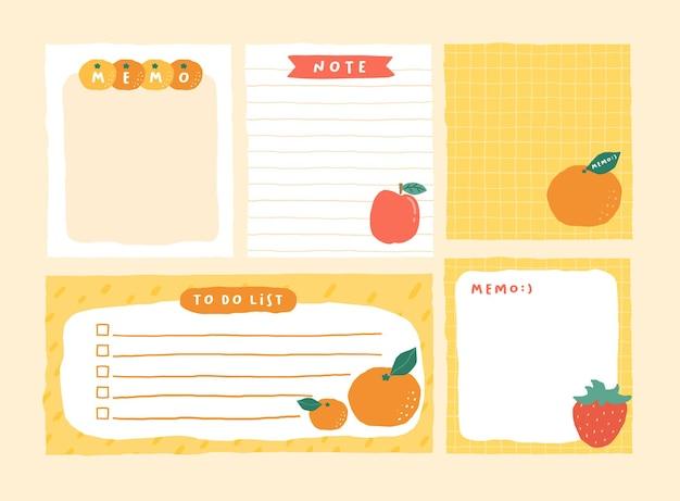 Nette memo-vorlage eine sammlung von gestreiften notizen, leeren notizbüchern und zerrissenen notizen, die in einem tagebuch oder büro verwendet werden Premium Vektoren