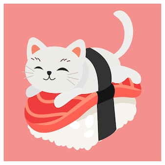 Nette miezekatzekatze in den sushi, japanische sushi, thunfischsushi.