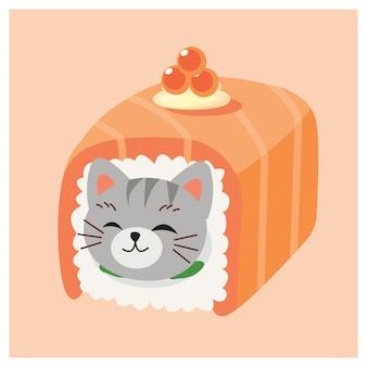 Nette miezekatzekatze in den sushi, japanische sushirollen, lachsrolle mit kaviar.