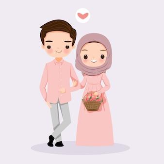 Nette moslemische paare mit blume